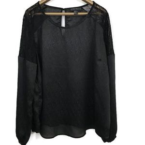 Forever 21+ Long Sleeve Lace Detail Sheer Blouse